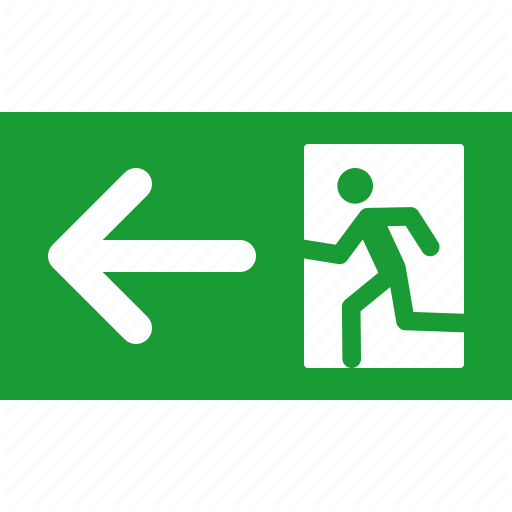 Arrow, Emergency, Exit, Green, Leave, Left, Sign Icon