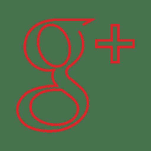Red Googleplus Line Icon