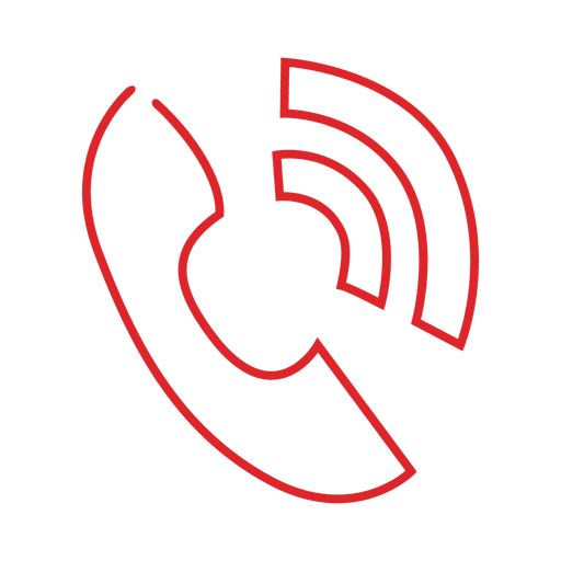 Red Phone Ring Line Icon