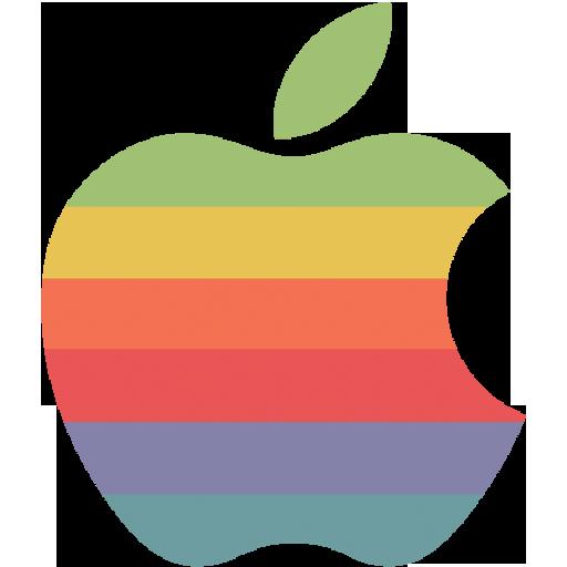 Rainbow Apple Logo Icon Flat Retro Modern Iconset Grafikartes