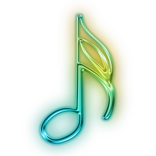 Glowing Green Neon Icon Media Music Sixteenth Note