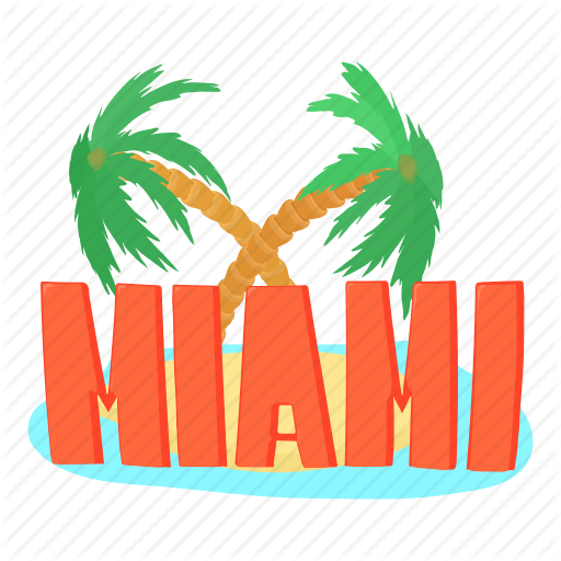 America, Cartoon, Logo, Miami Palm, Touristic, Travel, Usa Icon