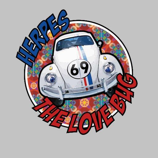 Herbie Herpes The Love Bug Vw Bettle Parody Decal Sticker Ebay