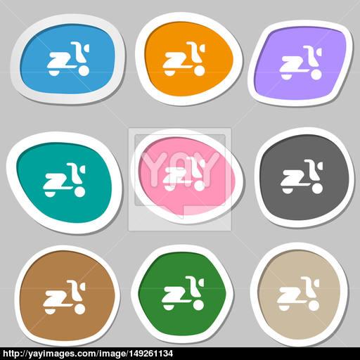 Scooter, Bike Icon Symbols Multicolored Paper Stickers Image