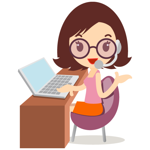 Customer Service Girl With Glasses Icon Education