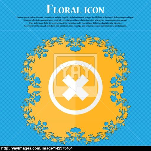 Cancel Icon No Sign Floral Flat Design On A Blue Abstract