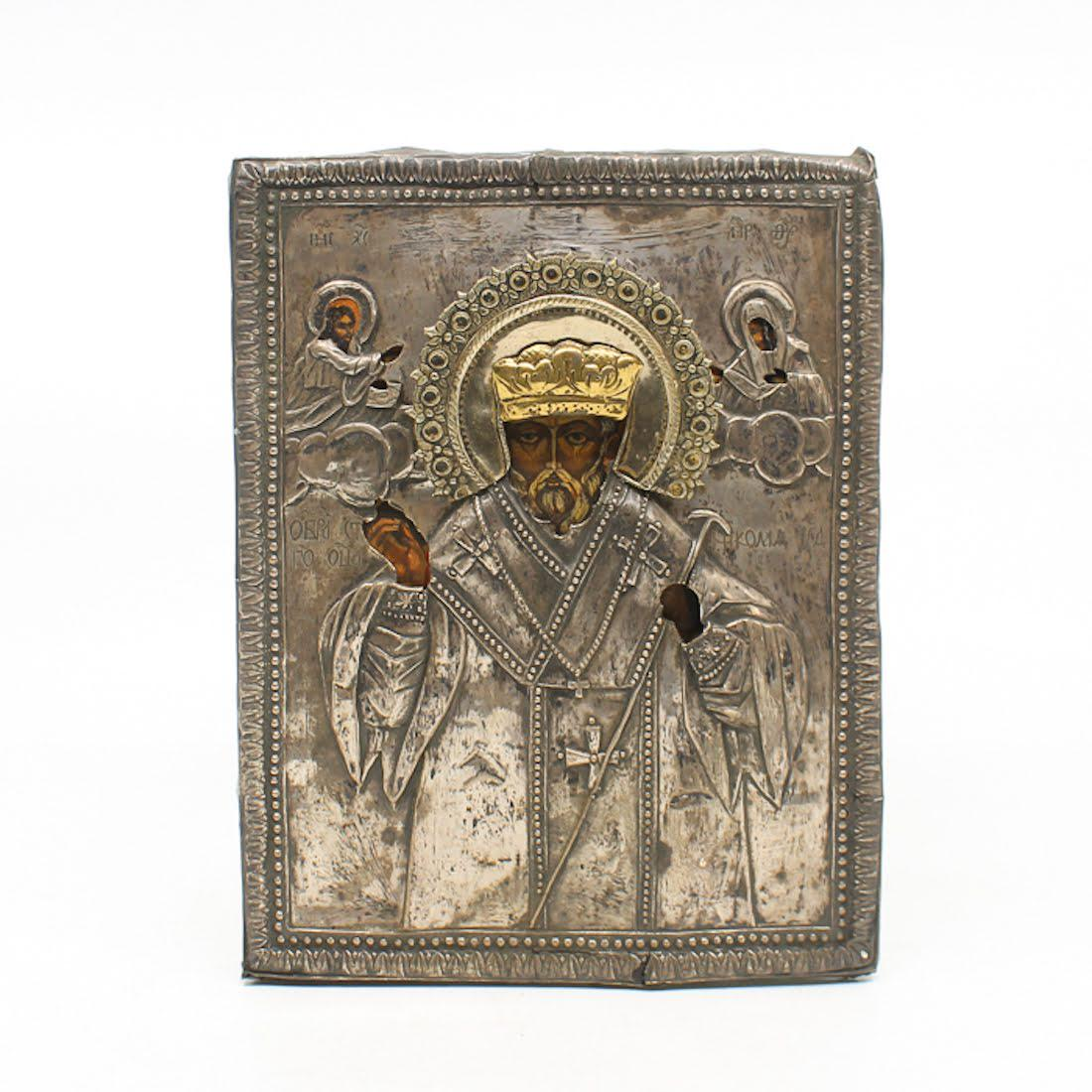 Antique Russian Icon Of St Nicholas With Silver Oklad
