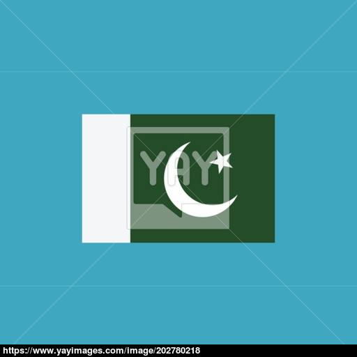 Pakistan Flag Icon In Flat Design Vector