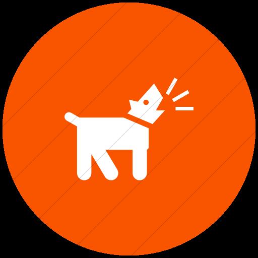 Flat Circle White On Orange Iconathon Barking Dog Icon