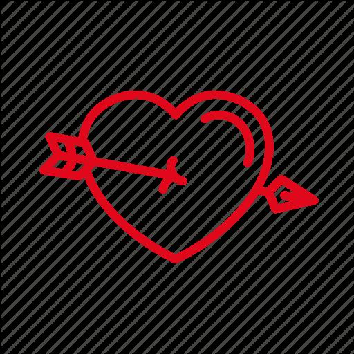 Arrow, Heart, Love, Piercing, Romance Icon