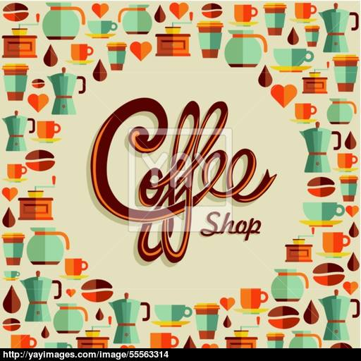 Coffee Flat Icon Poster Illustration Vector