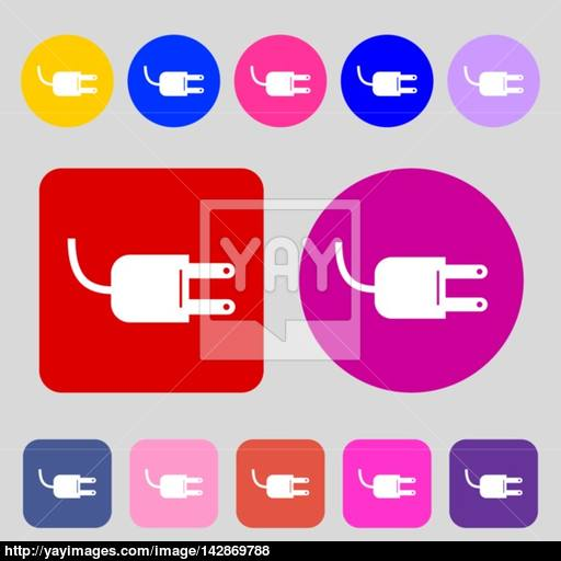 Electric Plug Sign Icon Power Energy Symbol Colored Buttons