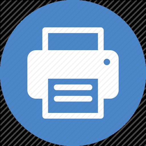 Blue, Circle, Copier, Office, Print, Printer, Printing Icon
