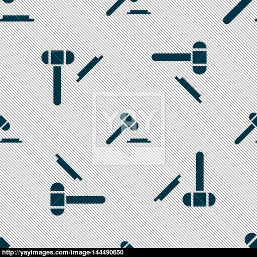 Judge Hammer Icon Seamless Pattern With Geometric Texture Vector