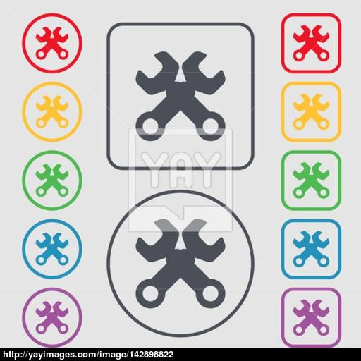 Wrench Key Sign Icon Service Tool Symbol Symbols On The Round