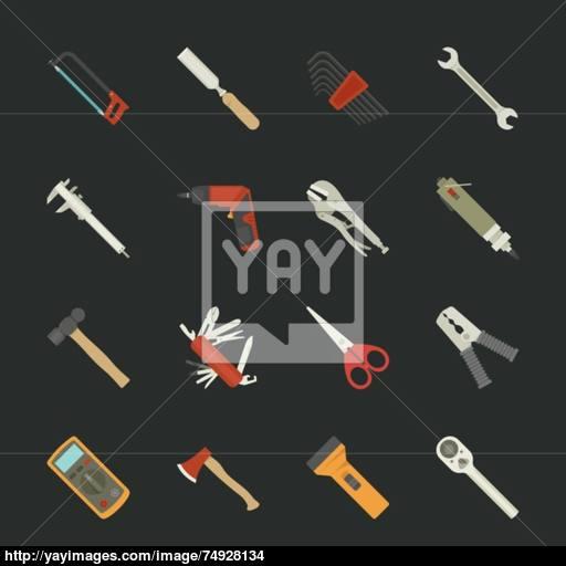 Hand Tools Icon Set Flat Design Vector