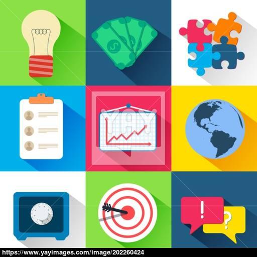 Business Flat Icon Set Vector Illustration Design Vector