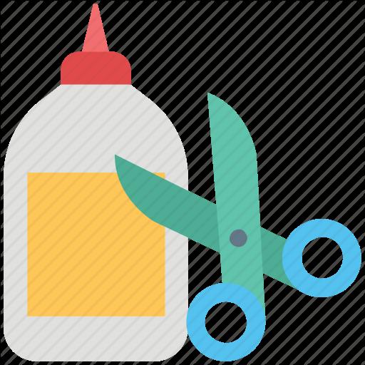 Adhesive, Cutting, Glue, Glue Bottle, Scissor, Shears, Stationary Icon