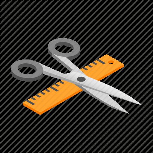 Isometric, Rule, Ruler, Scale, Scissor, Shears, Straightedge Icon