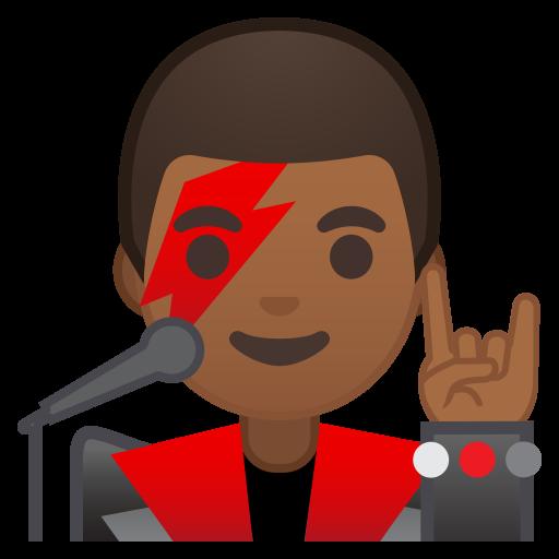 Man Singer Medium Dark Skin Tone Icon Noto Emoji People