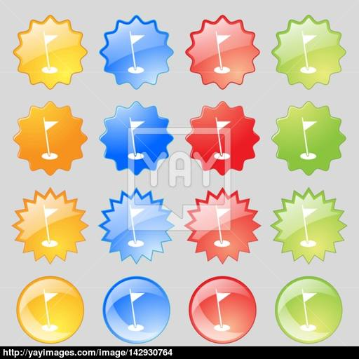Flag Hole Sign Icon Sport Symbol Big Set Of Colorful Modern