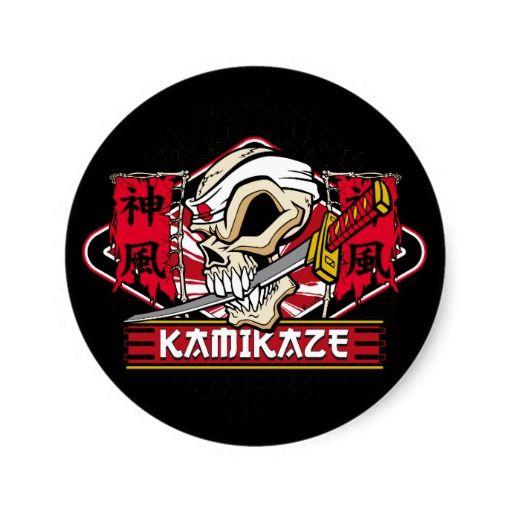 Kamikaze Skull With Japanese Sword Classic Round Sticker Zazzle