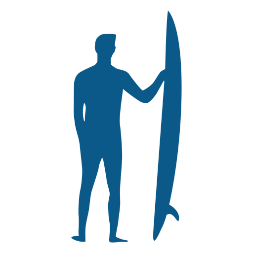Male Surfer With Longboard Silhouette