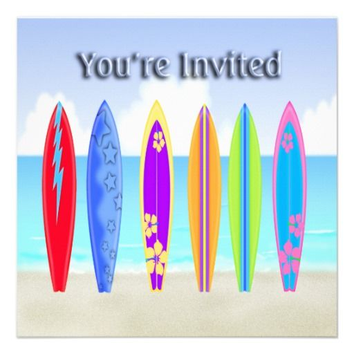 Surfboards Beach Party Invitations Bbq And Summer