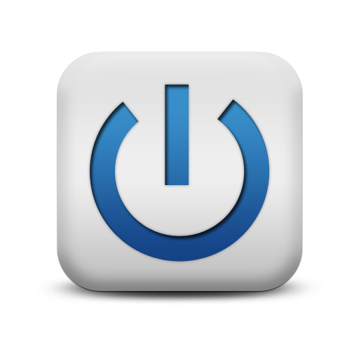 Blue Power Button Symbol Icon