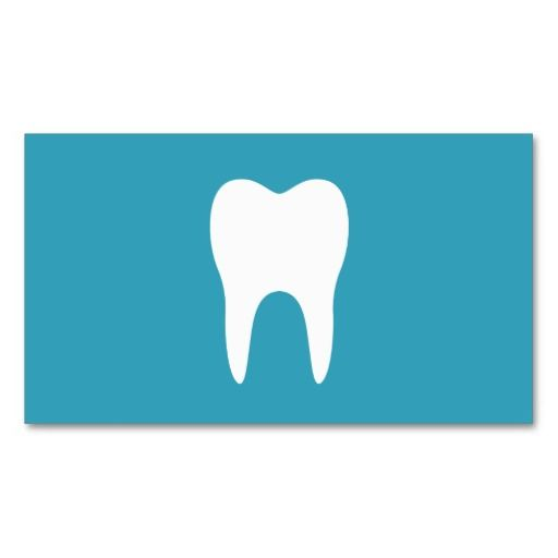 White Tooth Teal Minimalist Dentist Dental Business Cards