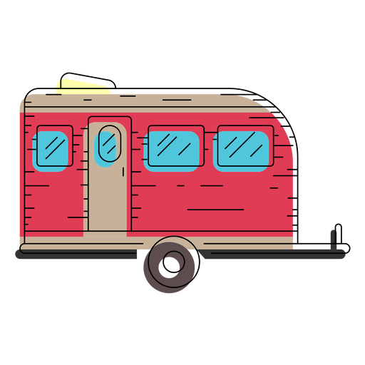 Camper Trailer Flat Icon