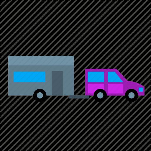 Camping, Caravan, Home, Mobile, Tow, Towing, Trailer Icon