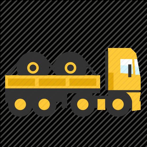 Open, Roles, Semi, Steel, Trailer, Transport, Truck Icon