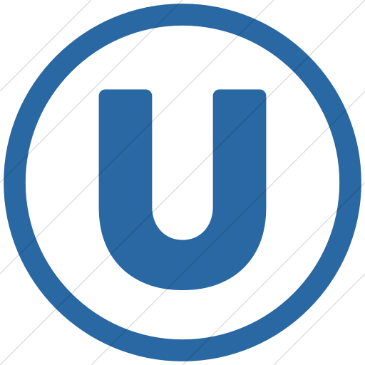 Simple Blue Encircled Capital U Icon