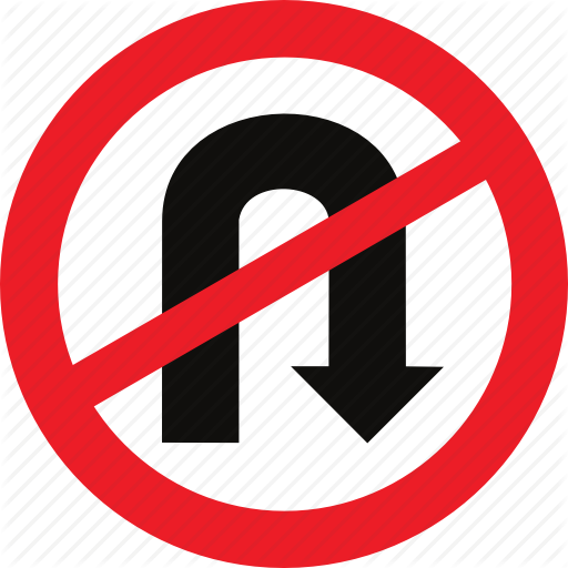 No U Turn, Regulatory, Traffic Sign, U Turn Icon