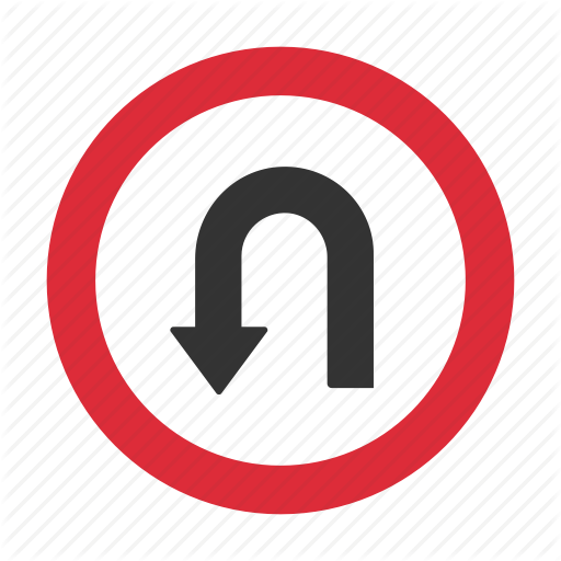 Traffic Sign, U Turn, Warning, Warning Sign Icon