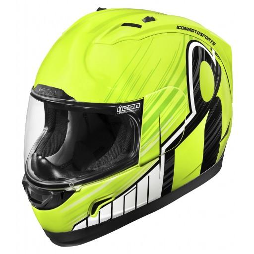 Icon Alliance Overlord Hi Viz Yellowlack Motorcycle Helmet Quad