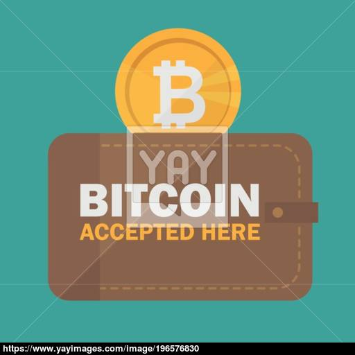 Bitcoin Accepted Sticker Icon Banner With Text Bitcoind Accepted