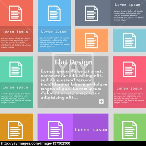 Text Icon Sign Set Of Multicolored Buttons With Space