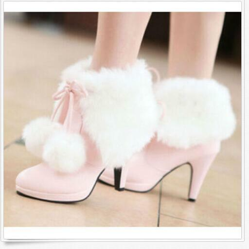 Womens Sweet Princess Faux Fur Furry Mid Heels Lace Up Fuzzy Ball