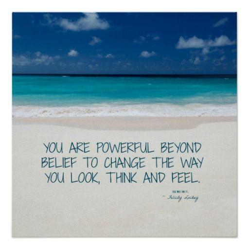 Powerful Beyond Belief Beach Fitness Motivation Poster Zazzle
