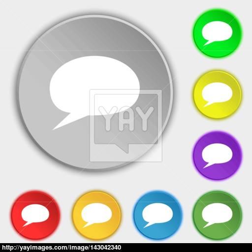 Speech Bubble Icons Think Cloud Symbols Symbols On Eight Flat