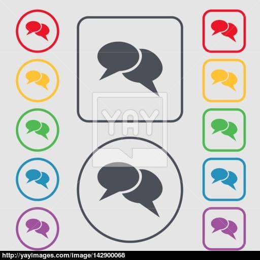 Speech Bubble Icons Think Cloud Symbols Symbols On The Round