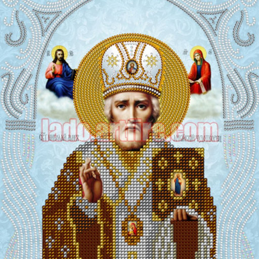 St Nicholas Small Icon In Silver Color Diy Bead Embroidery Kit