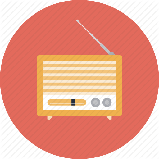Retro Radio Player News Audio Broadcast Flat Icon Symbol