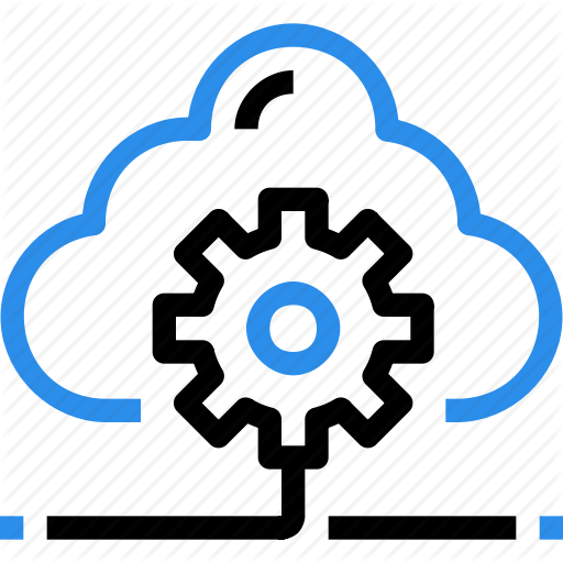 Cloud, Data, Database, Gear, Management, Process Icon