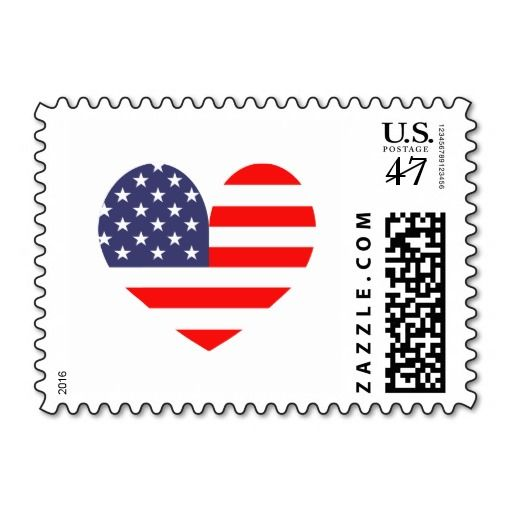 Patriotic American Flag Heart Icon Postage Stamps Independence