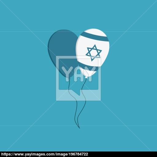 Two Balloons Icon In Flat Design With Israel Independence Day Ho