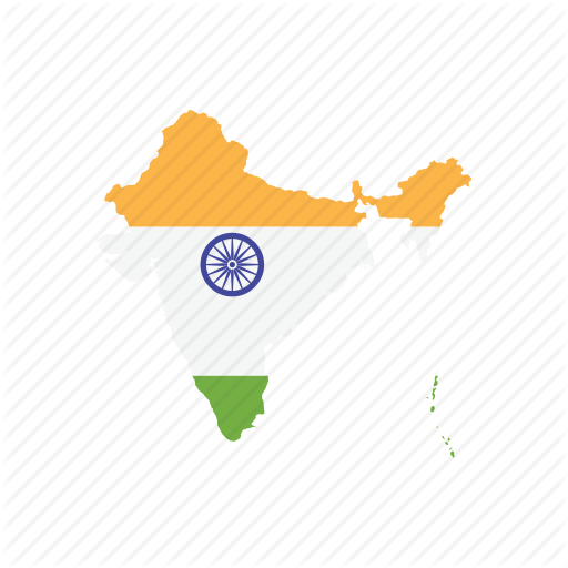 Flag, India, Map, World Icon