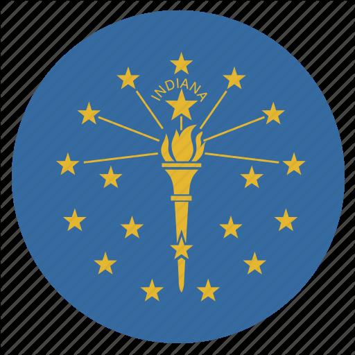 American, Circular, Cricle, Flag, Indiana, State Icon